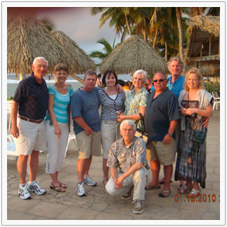 Here's our group photo (one couple missing), taken in the main plaza at our resort just as the sun was setting.