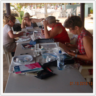 The ladies, busy at work on their paintings.  Because we were so absorbed in the workshops, the mornings flew by fast.